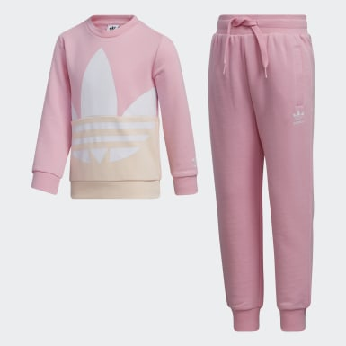 Children Originals Pink Large Trefoil Crew Set