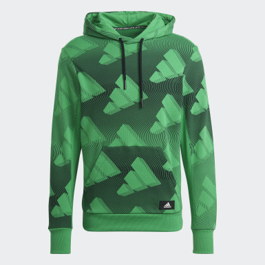 Men Athletics Green adidas Sportswear Allover Print Hoodie Sweatshirt