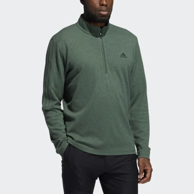 Men Golf Green 3-Stripes Quarter-Zip Sweatshirt