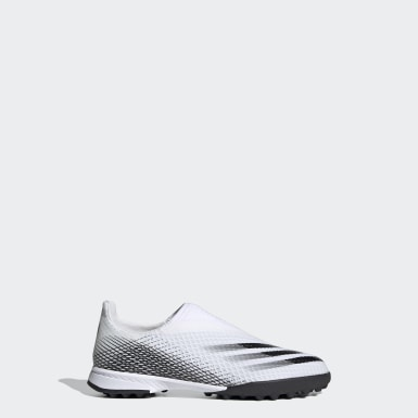Chaussure X Ghosted.3 Laceless Terrain Turf Blanc Enfants Football