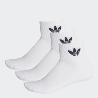 Mid-Cut Crew sokker, 3 par Hvit