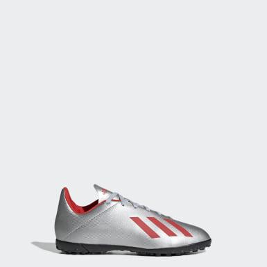 Zapatos de Fútbol X 19.4 Césped Artificial Plateado Niño Fútbol
