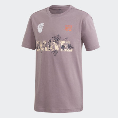 Playera Marvel x adidas Estampada Violeta Niño Training