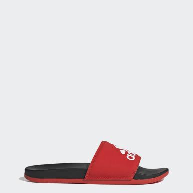 Mænd Træning Rød Adilette Cloudfoam Plus Logo sandaler