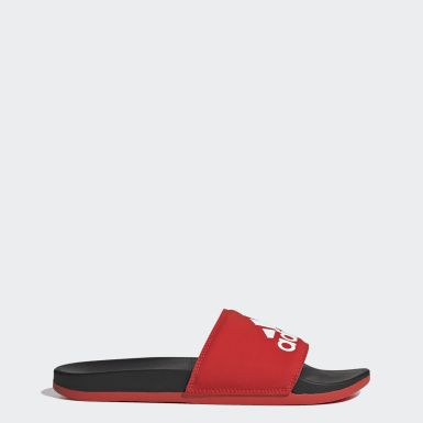 Chancla Adilette Cloudfoam Plus Logo Rojo Mujer Training