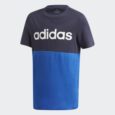 Youth Essentials Blue Linear Colorblock Tee