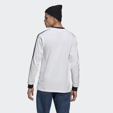 Men's Originals White Adicolor Classics 3-Stripes Long Sleeve Tee