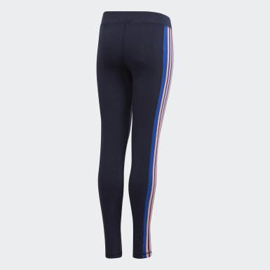 Mädchen Athletics 3-Streifen Tight Blau