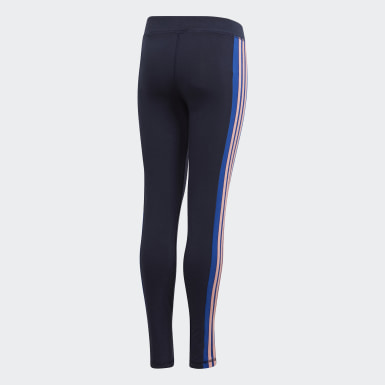 Youth 8-16 Years Athletics Blue 3-Stripes Leggings