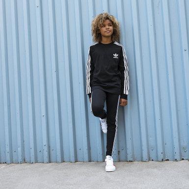 Mallas 3 Franjas - Corte Medio Negro Niña Originals