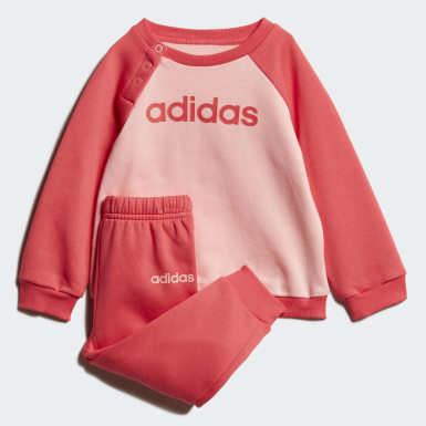 Girls Athletics Pink Linear Fleece Jogger Set