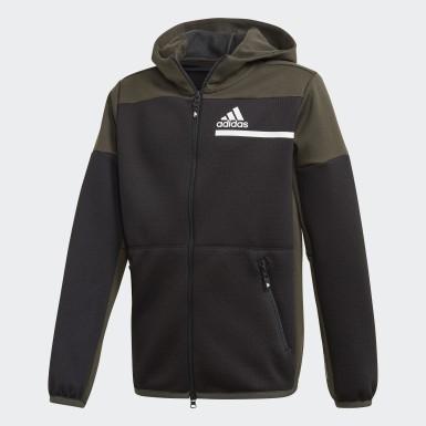 Chlapci Athletics čierna Mikina skapucňou adidas Z.N.E. AEROREADY Full-Zip