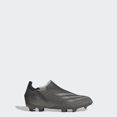 Kinder Fußball X Ghosted+ FG Fußballschuh Schwarz