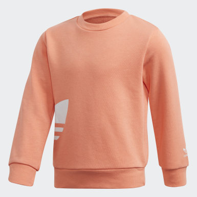 Conjunto Sudadera cuello redondo Gran Trifolio Naranja Niño Originals