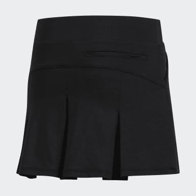 Girls Golf Black Solid Pleat Skort