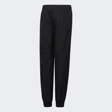 Youth Training Black Crinkle-Woven Joggers