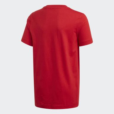 Jungen Athletics Essentials 3-Streifen T-Shirt Rot