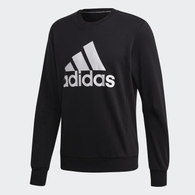 Männer Athletics Must Haves Badge of Sport Crew Sweatshirt Schwarz