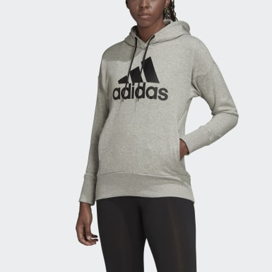 Women Athletics Grey Badge of Sport Long Hoodie