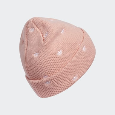 Women Originals Pink Allover Print Embroidery Beanie
