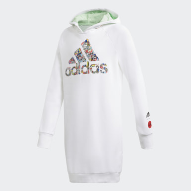 Girls Training White Cleofus Long Hoodie