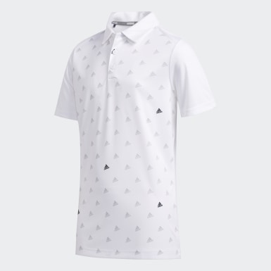 Boys Golf White Printed Polo Shirt