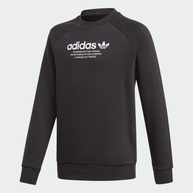 Sweat-shirt Adicolor Crew Noir Enfants Originals