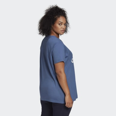 Dames Athletics Blauw Must Haves Badge of Sport T-shirt (Grote Maat)