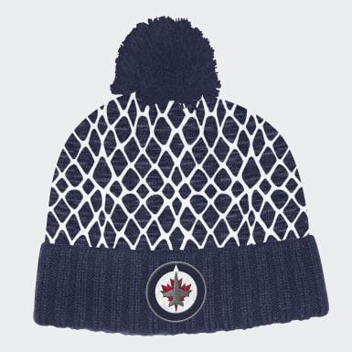 Men Hockey Multicolor Jets Cuffed Knit Pom Hat