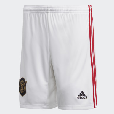 Boys Football White Manchester United Home Shorts