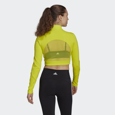 T-shirt Long Sleeve Crop Jaune Femmes Studio