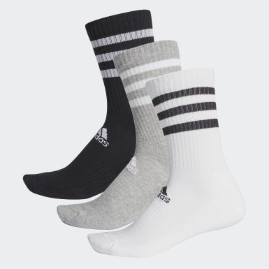 Training Grey 3-Stripes Cushioned Crew Socks 3 Pairs