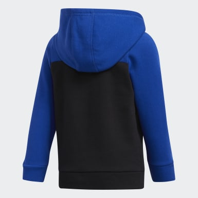 Children Training Black Cotton Fleece Jacket and Jogger Set