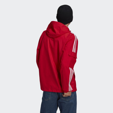 Men Originals Red Adicolor Classics 3-Stripes Full-Zip Windbreaker