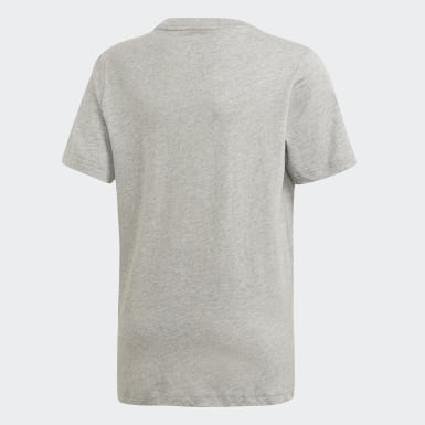 Boys Yoga Grey Essentials Linear Logo Tee