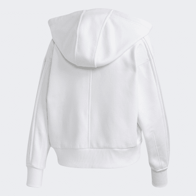 Frauen adidas by Stella McCartney Cropped Kapuzenjacke Weiß