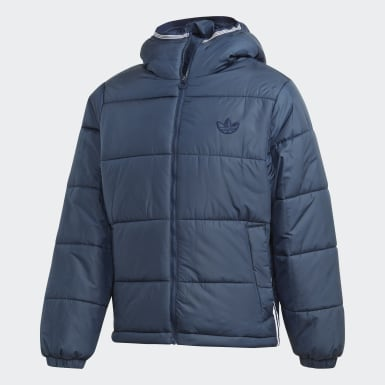 Men Originals Blue Padded Hooded Puffer Jacket