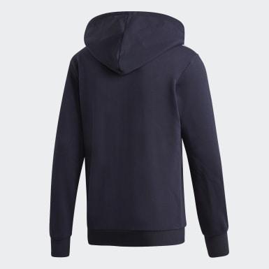 Mænd Athletics Blå Essentials 3-Stripes Fleece hættetrøje