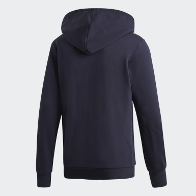 Hoodie Essentials 3-Stripes Fleece Blu Uomo Athletics