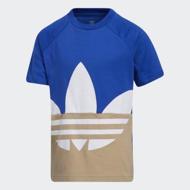 เด็ก Originals สีน้ำเงิน ชุดเสื้อยืดและกางเกงโลโก้ Trefoil ขนาดใหญ่