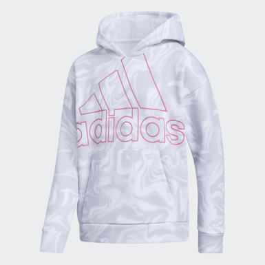 Youth Training White Marble Print Hoodie