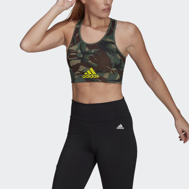 Frauen Cross Training AEROREADY Designed 2 Move Camouflage-Print Bustier Grün