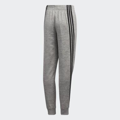 Youth Training Grey 3-Stripes Mélange Fleece Joggers