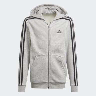 Boys Sport Inspired Grey Essentials 3-Stripes Hoodie