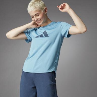 Frauen Running 3 Bar Logo T-Shirt Blau