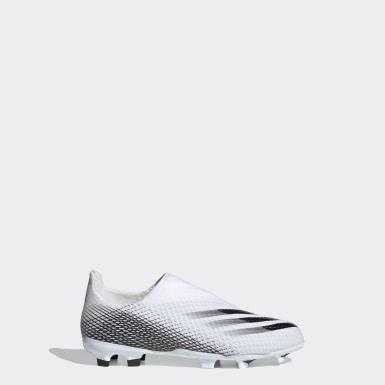 Børn Fodbold Hvid X Ghosted.3 Laceless Firm Ground støvler