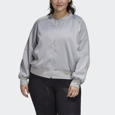 Dam Athletics Grå Glam On Bomber Jacket (Plus Size)