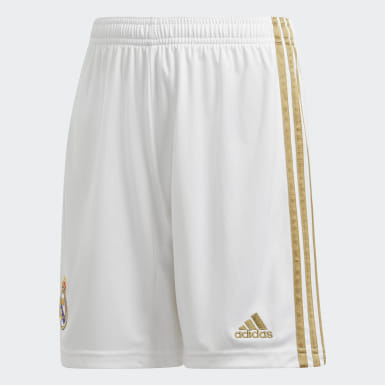 Shorts Uniforme Titular Real Madrid Blanco Niño Fútbol