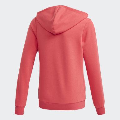Girls Athletics Pink Essentials 3-Stripes hættetrøje