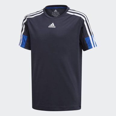 เด็กผู้ชาย เทรนนิง สีน้ำเงิน เสื้อยืด Must Haves AEROREADY 3-Stripes